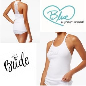 BETSEY JOHNSON BLUE White Lace Bride Tank Top